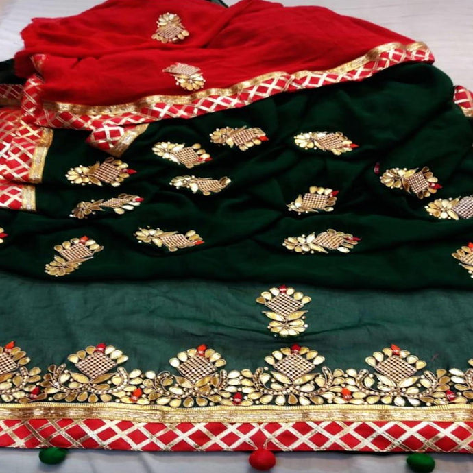 Latest Gota Patti Handwork Sarees In Bottle Green, Rajasthani Sarees, Jaipur Gota Work Sarees