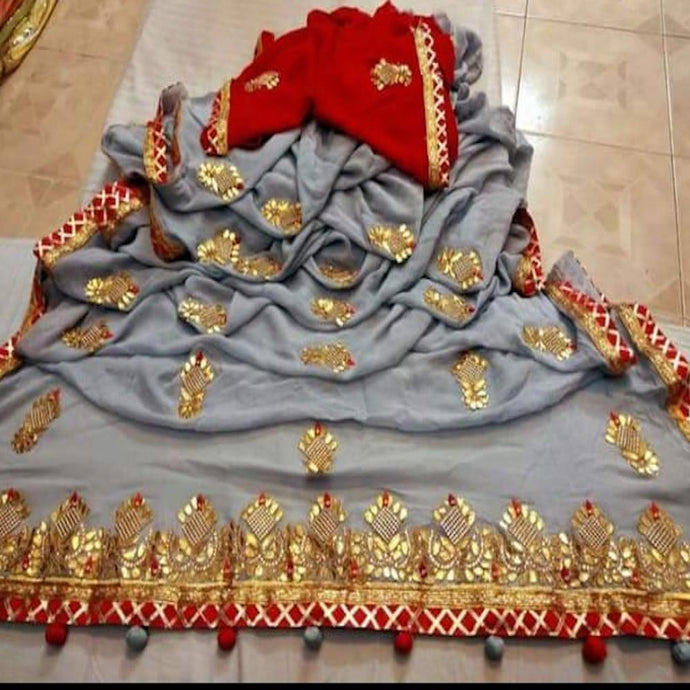 Latest Gota Patti Handwork Sarees In Grey, Online, Bridal Sarees, Wedding Sarees