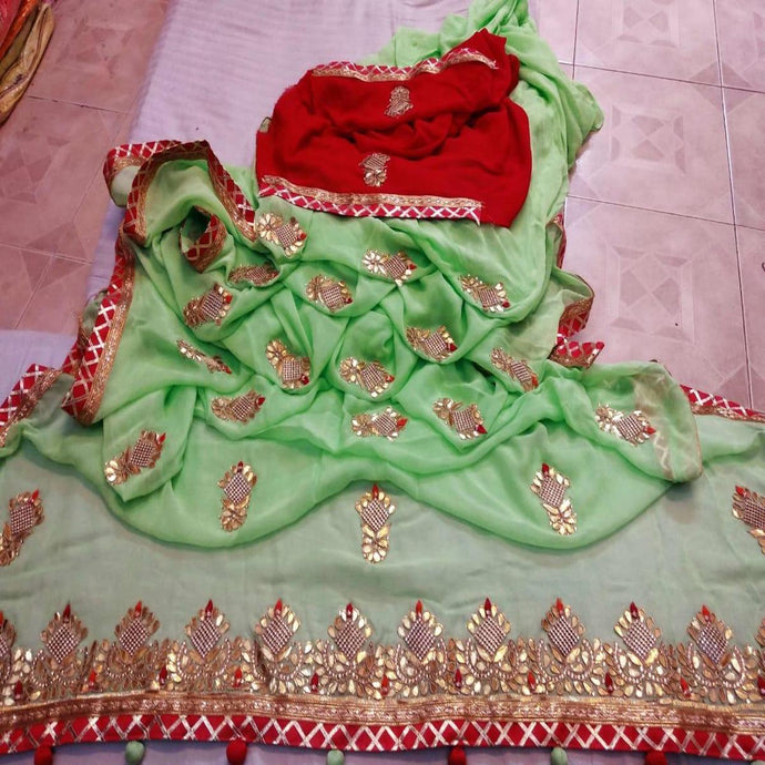 Latest Gota Patti Handwork Sarees In LightGreen, Leheriya Sarees Online, Leheriya Gota Work Sarees Online