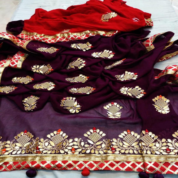 Latest Gota Patti Handwork Sarees In Purple, Online Sale On Sarees, Saree Manufacturer