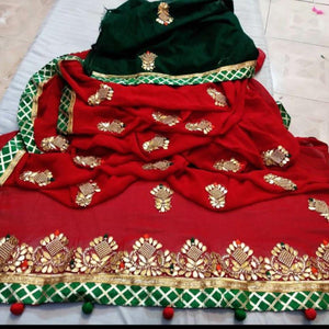 Latest Gota Patti Handwork Sarees In Red, Indian Sarees, Gota Patti Saree, Jaipuri Saree.