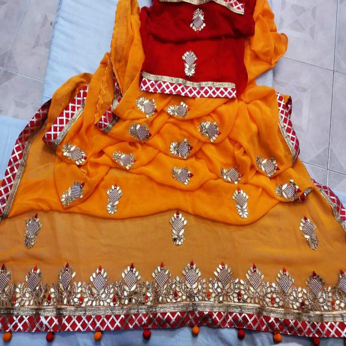 Latest Gota Patti Handwork Sarees In Yellow, Online, Bridal Sarees, Wedding Sarees