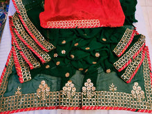 Load image into Gallery viewer, Latest Gota Patti Work Sarees In Bottlegreen