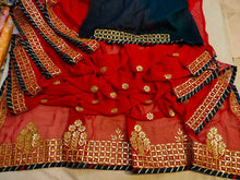 Load image into Gallery viewer, Karwachauth Latest Gota Patti Work Sarees In Red