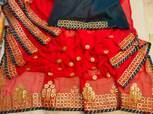 Latest Gota Patti Work Sarees In Red