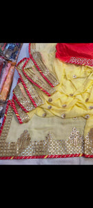 Durgapuja Gota Patti Work Sarees In Yellow