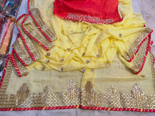 Load image into Gallery viewer, Durgapuja Gota Patti Work Sarees In Yellow