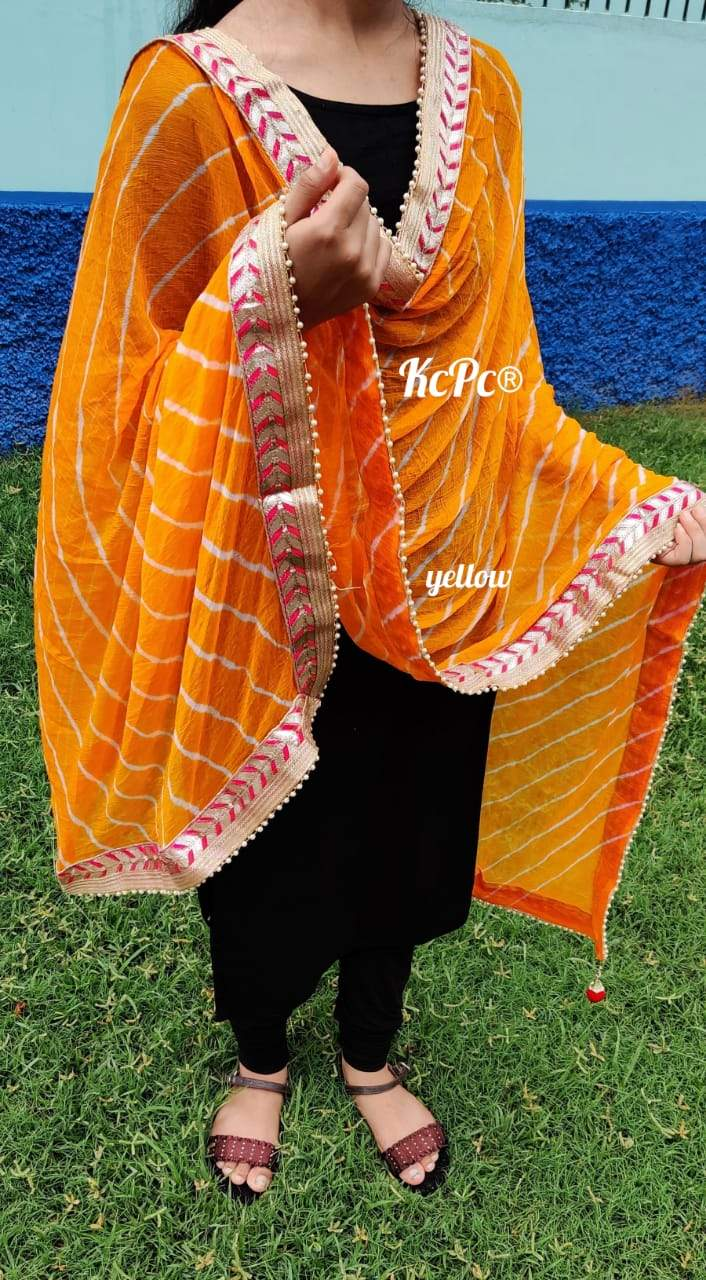 Leheriya Dupatta With Gota Border In Orange ,Lehriya Dupatta Online, Chiffon Dupattas