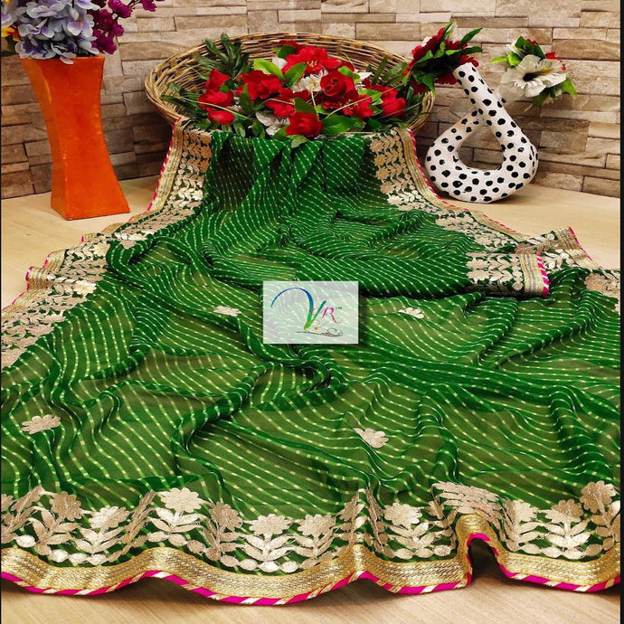 Leheriya Georgette Saree In Green ,Plain. Lehriya sarees Online, Sarees for Gift Online, Sarees Online