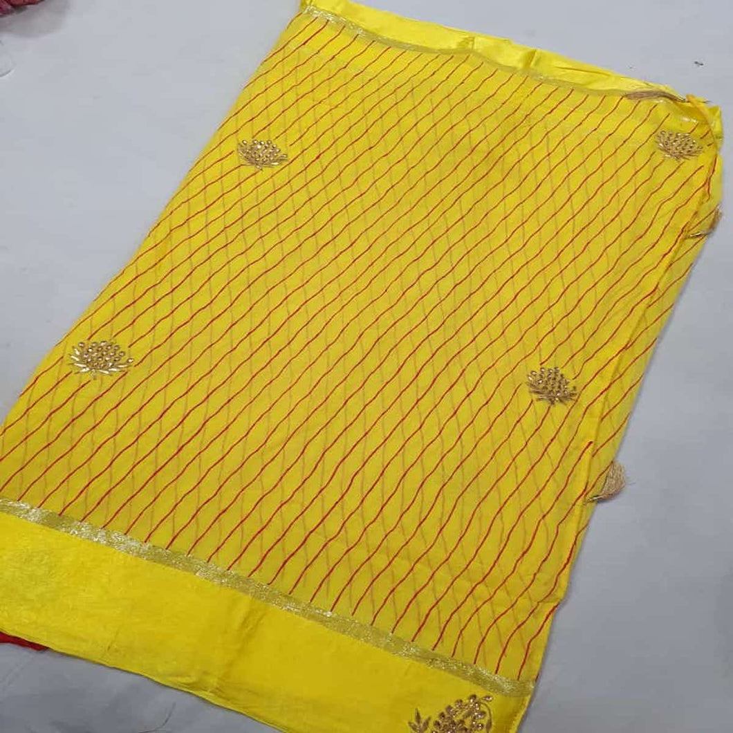 Lemon Yellow Lehriya Saree With Kundan Work