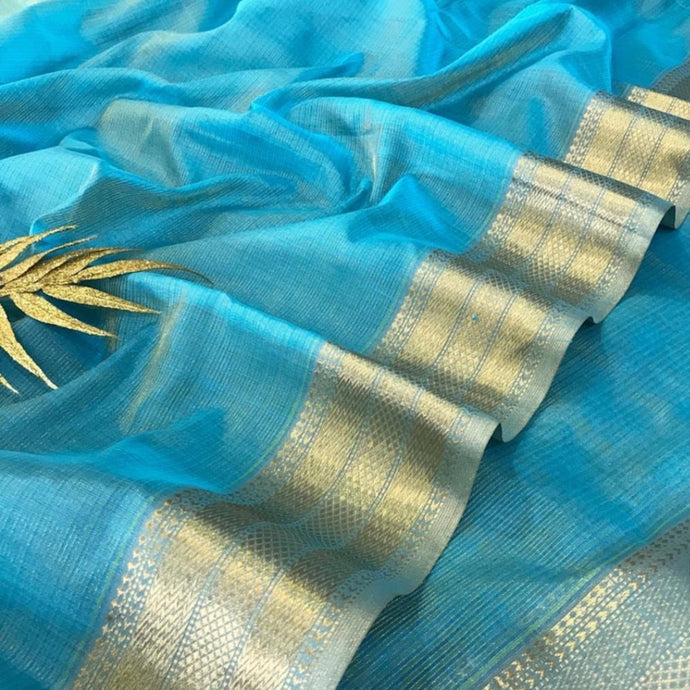 Light Blue Maheshwari Saree With Zari, Maheshwari handloom sarees, Pure maheshwari silk sarees