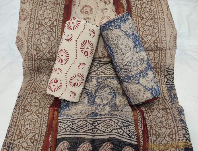 Light Brown Bagru Kota Doria salwar suit, Bagru print salwar suits online, Office wear Salwar suits
