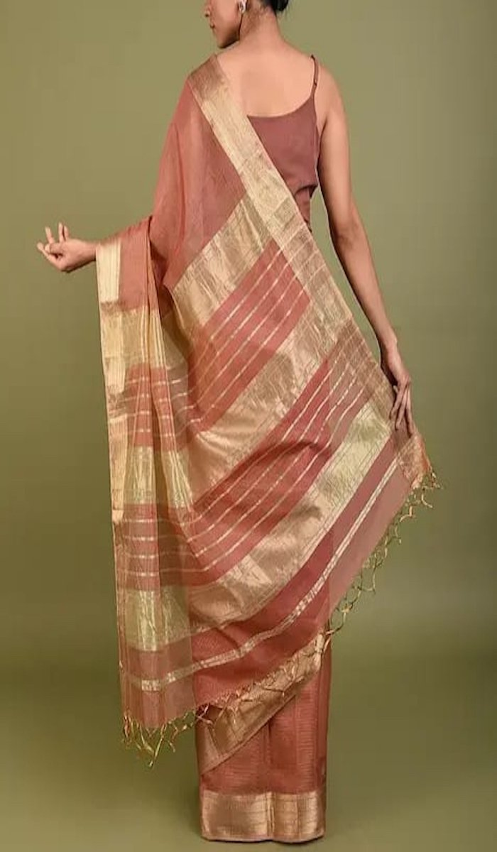 Light Brown Maheshwari Saree With Zari, Maheshwari sarees in Indore, Maheshwari Sarees online