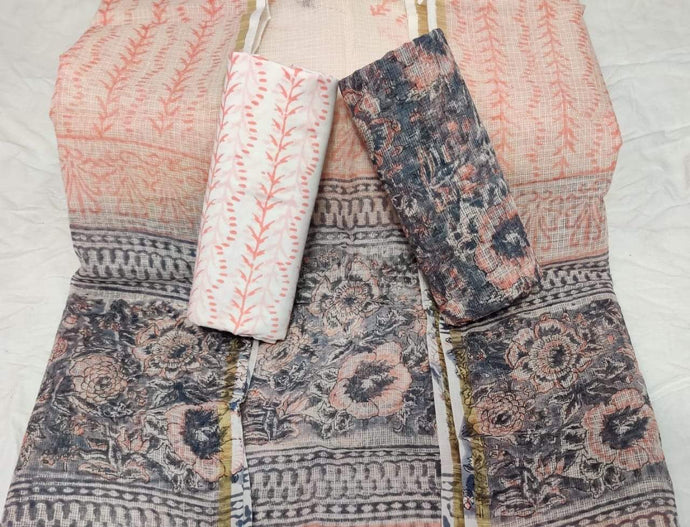 Light Orange Bagru Kota Doria salwar suit, Kota Doria Bagru print suits, Bagru prints salwar suits