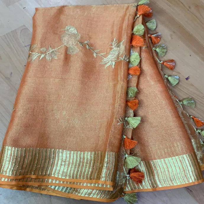 Buy Mauve Linen Tissue Embroidered Saree