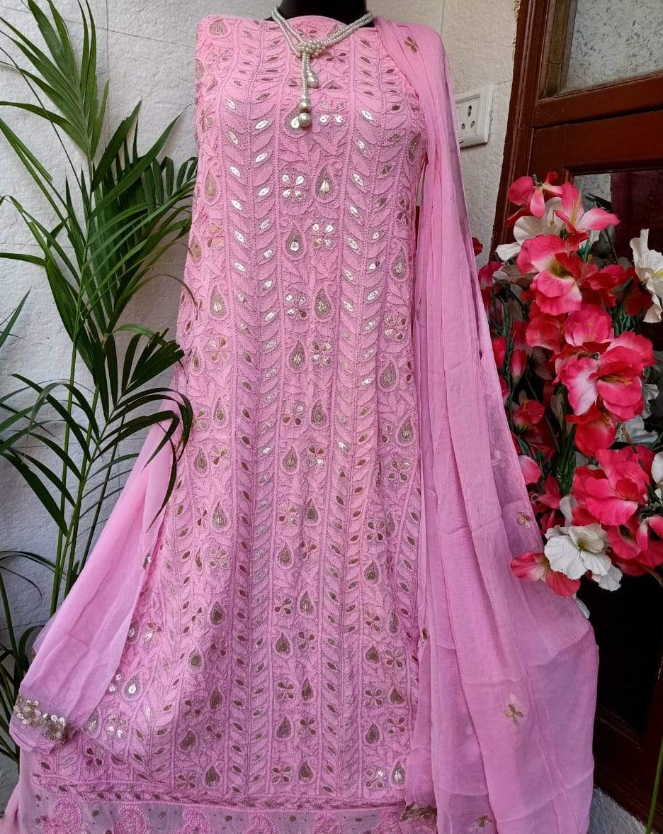 Light Purple Chikankari Gota Salwar Suit,Lucknowi Gota Patti Suits