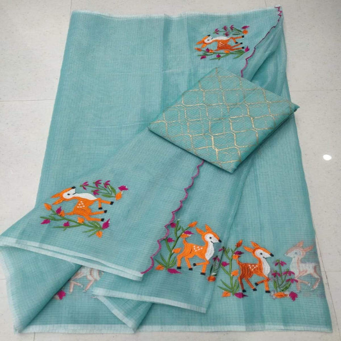 Light blue kota embroidered saree, pure kota embroidery sarees, Kota sarees in jaipur