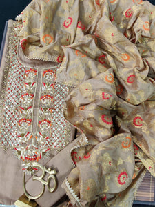 Light brown Heavy Suit With Banarasi Dupatta