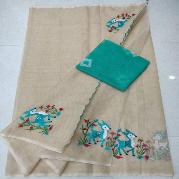 Light brown kota embroidered saree, Kota cotton sarees online, kota cotton saree