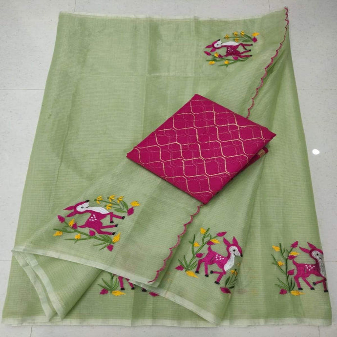 Light green kota embroidered saree, pure kota embroidery sarees, Kota sarees in jaipur