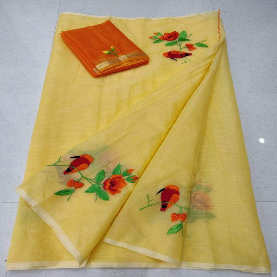 Light yellow kota embroidered saree, Pure kota doria sarees, Kota embroidery sarees