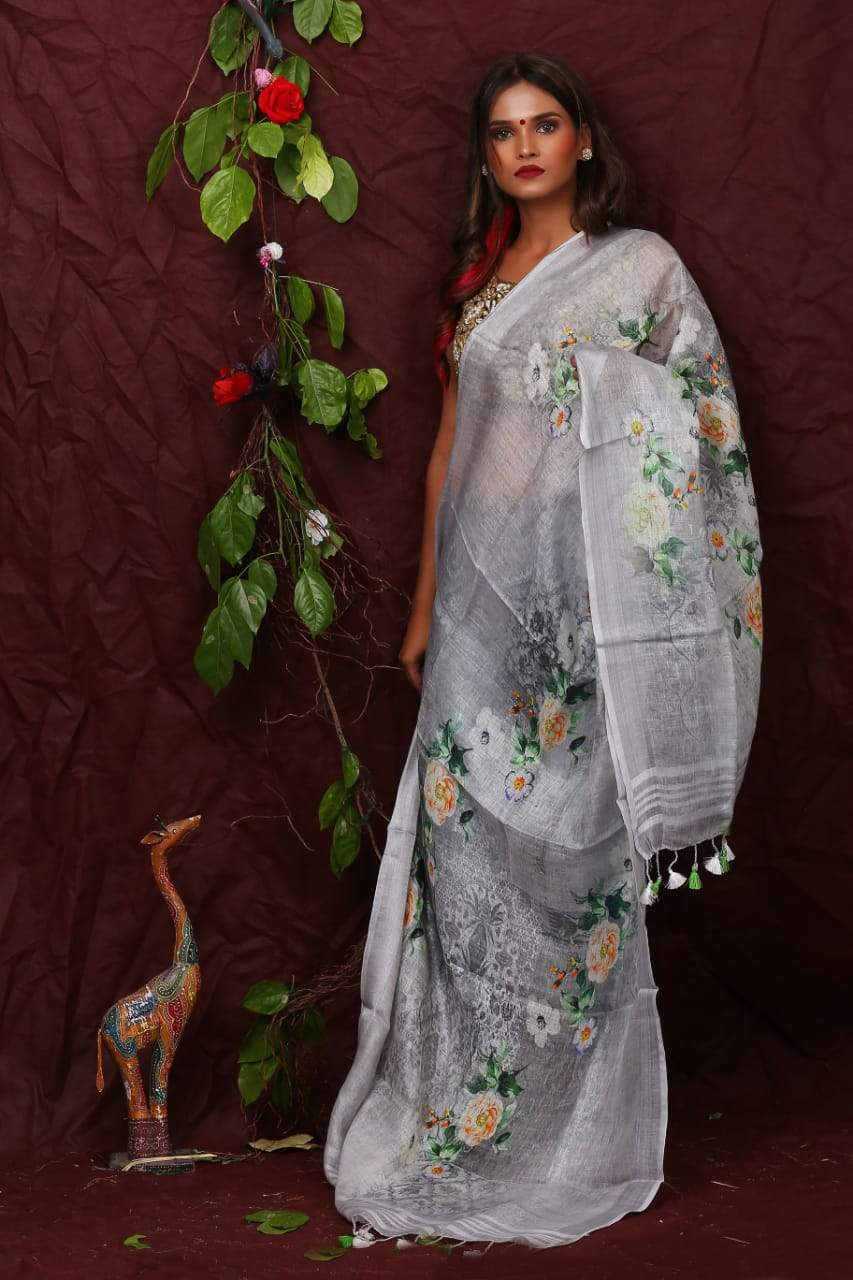 Linen Digital Floral Print Dupatta In Grey,Linen Dupatta With Ikkat Top,Linen Digital Print Dupatta Online