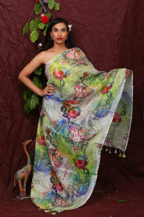 Linen Digital Floral Print Dupatta In White,Linen Dupatta With Ikkat Top,Linen Digital Print Dupatta Online