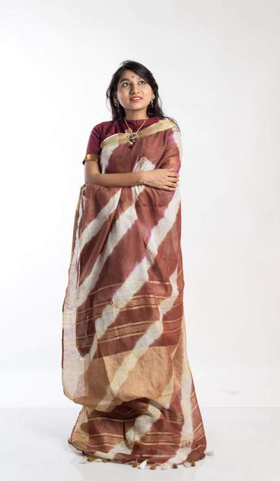 Linen Shibori Saree In Cream ,linen sarees with price, Shibori linen sarees buy online
