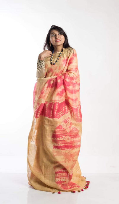 Linen Shibori Saree In Red And Yellow ,Pure Linen sarees, Shibori Linen Sarees With Border