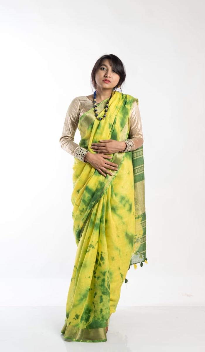 Linen Shibori Saree In Yellow ,linen sarees with price, Shibori linen sarees buy online