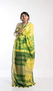 Linen Shibori Saree In Yellow