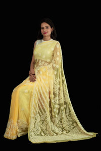 Lucknowi Chikankari Saree In Bright Yellow, Pure Georgette Chikankari Saree Online, Lucknowi Chikankari Sarees Prices