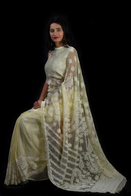 Lucknowi Chikankari Saree In Lemon Yellow, Lucknow Chikan Saree Online Shopping, Lucknow Chikan Sarees Online India