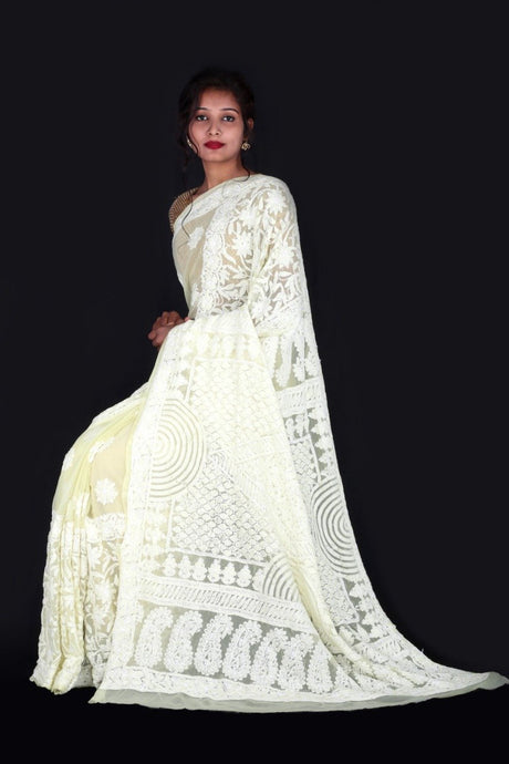 Lucknowi Chikankari Saree In Lime Yellow, Lucknowi Chikankari Sarees Online, Chikankari Sarees In Hyderabad