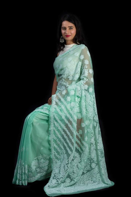 Lucknowi Chikankari Saree In Pastel Green, Lucknow Chikan Saree Online Shopping, Lucknow Chikan Sarees Online India