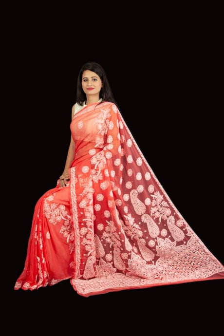 Lucknowi Chikankari Saree In Red, Pure Georgette Chikankari Saree Online, Lucknowi Chikankari Sarees Prices