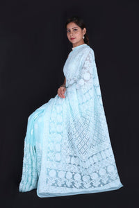 Lucknowi Chikankari Saree In Skyblue, Lucknow Chikan Saree Online Shopping, Lucknow Chikan Sarees Online India