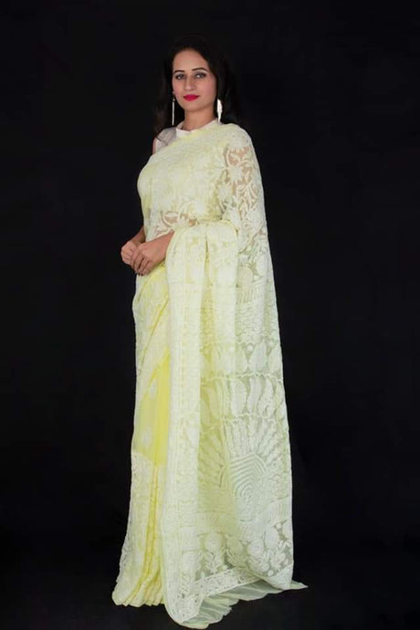 Lucknowi Chikankari Saree In Yellow, Lucknowi Chikankari Sarees Online, Chikankari Sarees In Hyderabad