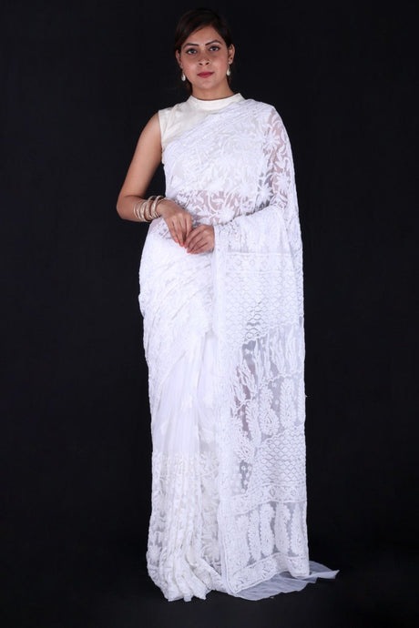 Lucknowi Saree In White, Lucknowi Chikankari Sarees, Pure Georgette Chikankari Saree