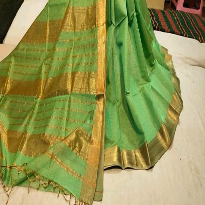 Maheshwari Saree With Zari In Green, Maheshwari sarees in pune, Pure maheshwari saree online