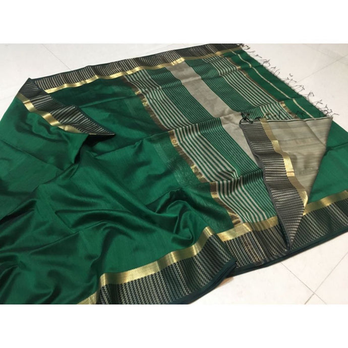 Maheshwari Saree In Bottle Green, Maheshwari Handloom Sarees, Pure Maheshwari Silk Sarees