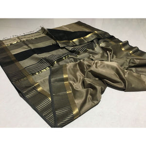 Maheshwari Saree In Dark Grey