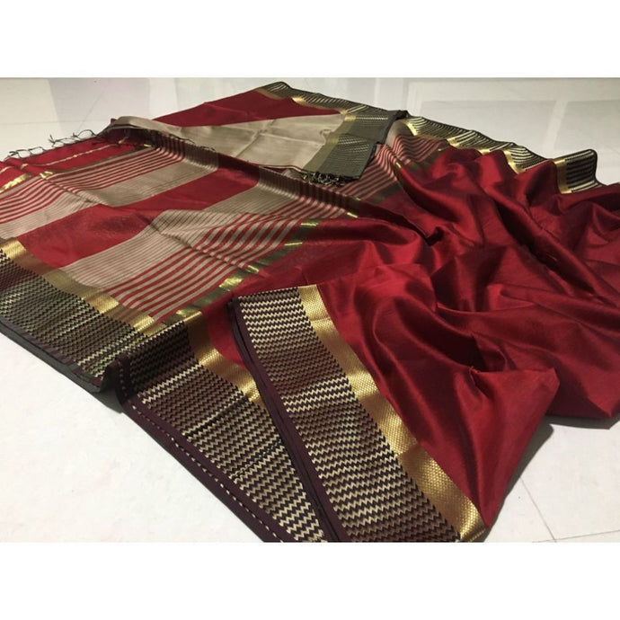 Maheshwari Saree In Mehroon, Maheshwari Saree Price, Maheshwari Sarees Online India