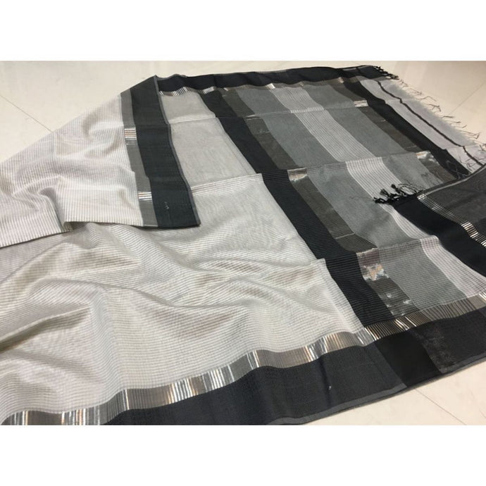 Maheshwari Saree In White And Black, Maheshwari Saree Price, Maheshwari Sarees Online India