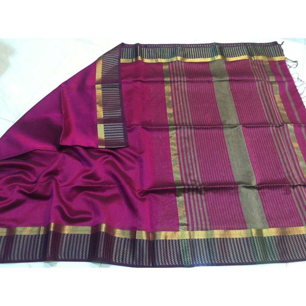 Maheshwari Saree In Pink And Black