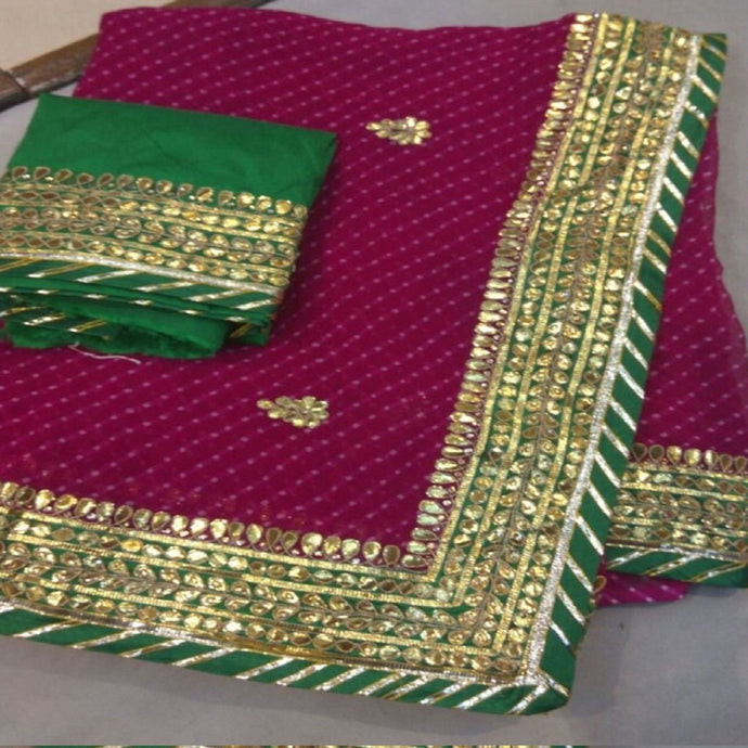 Maroon Mothra Saree With Gota Patti Work,Gota Patti Saree Jaipur, Gota Patti Saree Wholesale