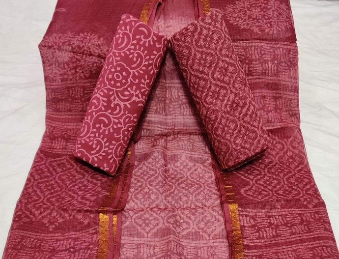 Mehroon Bagru Kota Doria salwar suit, Kota doria salwar suits from rajasthan, Salwar suit designs