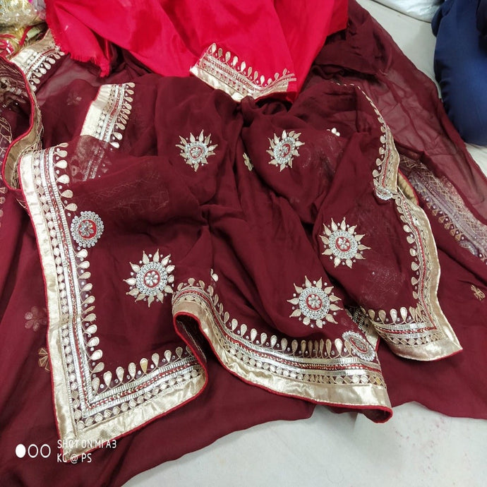 Mehroon and red saree with gota patti work