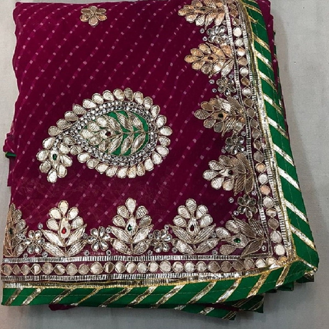 Mehrun gorgette saree with gotapatti hand work,rajasthani gota saree, gota patti saree rajasthan