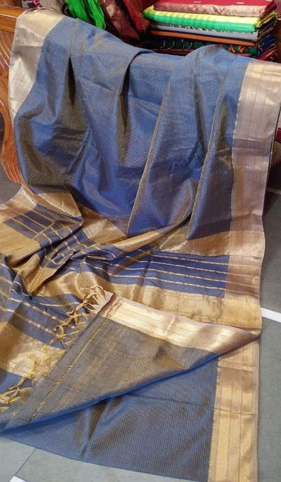 Metallic Blue Maheshwari Saree With Zari, Maheshwari sarees in Indore, Maheshwari Sarees online